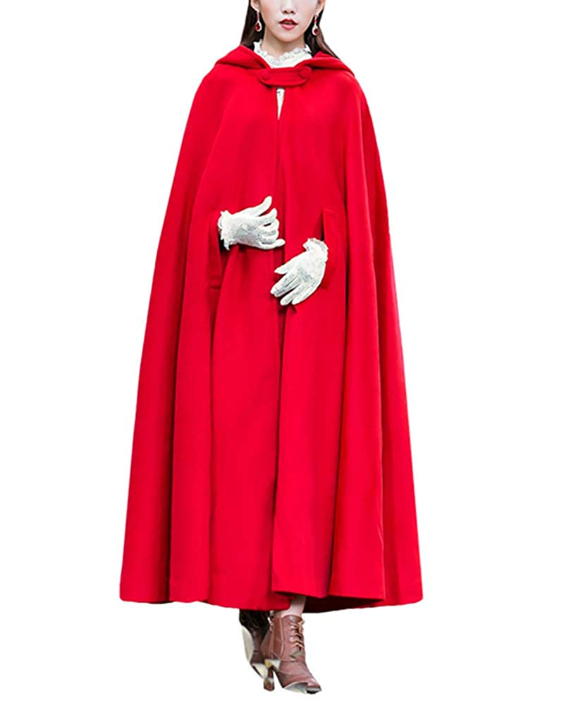 LY-VV Red Cloak with Hoods Batwing Cape Woollen Poncho Jacket CJPOJ3
