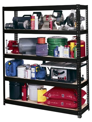 - Edsal UR60-BLK Heavy Duty 16-Gauge Steel Boltless Shelving with 5 Shelves, 5000 lbs Capacity, 60