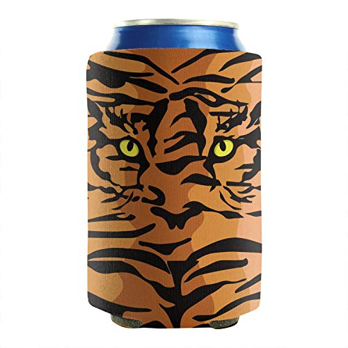 Orange Tiger Eye Art 12-16 OZ Bottles Insulated Beverage Beer Can Sleeves Non-Slip Glass Cans Cooler Covers Insulator Trendy Design 2-Pack