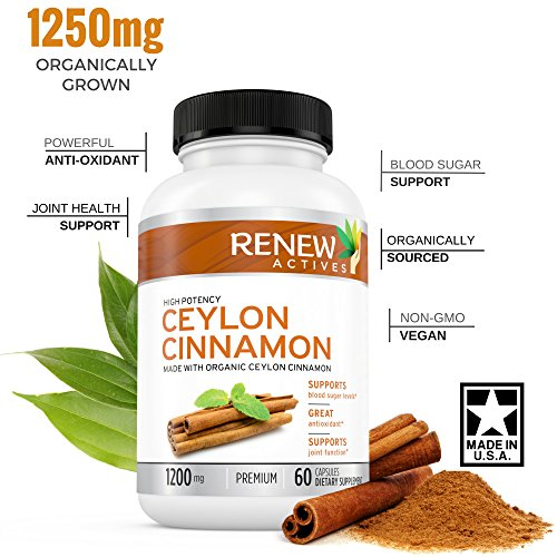 Cheap Organic Ceylon Cinnamon Supplement Capsules: All Natural Vegan Cinnamon Pills – Anti-Inflammatory Antioxidant Support for Healthy Blood Sugar, Joints, Circulation and Digestion – 60 Veggie Capsules