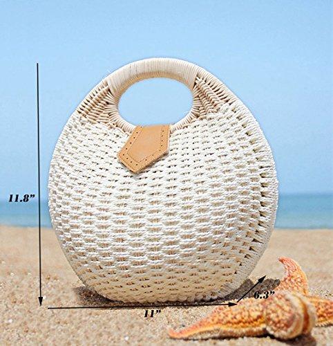 Crossbody Fashion Women Straw Woven White Top Vacation Pulama Bucket Summer Cb Handbag Beach Round Handle Wicker Eq0gUgzF