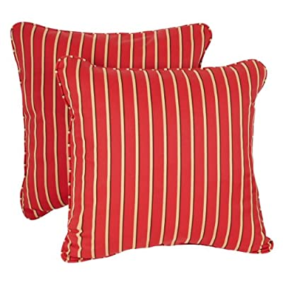Mozaic AZPS6911 Indoor Outdoor Sunbrella Square Pillow with Corded Edges, Set of 2 16 x 16 Red, Gold & Black Stripes - Color:  Sunbrella Red/ Gold Stripe Materials: Acrylic fabric, filled with 100% recycled polyester fiber Weather, mildew, fade and stain resistant with UV protection - patio, outdoor-throw-pillows, outdoor-decor - 51LySnpm5CL. SS400  -