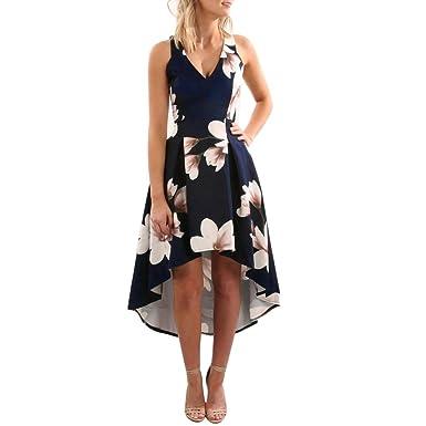 Anglewolf Womens Stylish Flower Printing Bohemian Dress Ladies Sexy Sleeveless V-Neck Party Evening Fashion