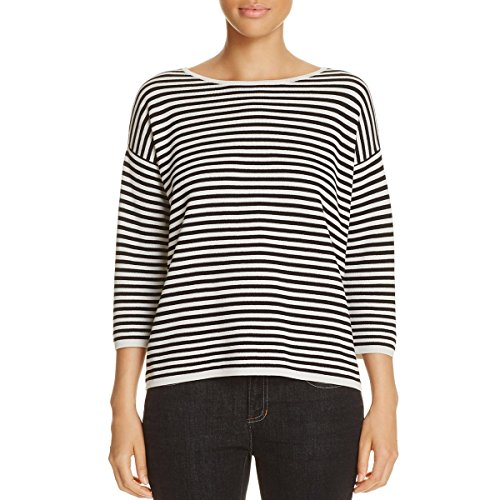 Eileen Fisher Petite Sweater - Eileen Fisher Womens Petites Silk Striped Pullover Sweater Black-Ivory PP