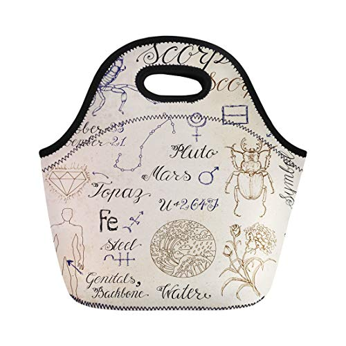 (Semtomn Neoprene Lunch Tote Bag Collection of Symbols for Astrological Zodiac Sign Scorpion Scorpio Reusable Cooler Bags Insulated Thermal Picnic Handbag for Travel,School,Outdoors,Work)