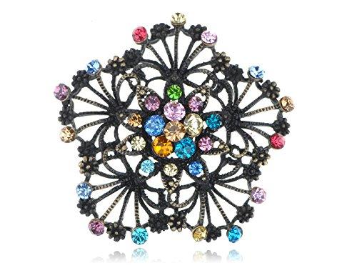 Alilang Bridal Wedding Craft Dressy Brass Tone Flower Floral Multi Crystal Brooch Pin