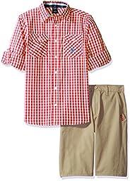U.S. Polo Assn. Big Boys\' Long Sleeve Gingham Check Woven Shirt and Twill Short, Plaid, 12