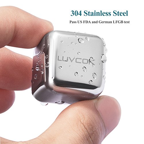 LUVCOK-Stainless-Steel-Ice-Cubes-Chilling-Reusable-Ice-Cubes-Whiskey-Stones-Cooling-Rocks-with-Nonslip-Silicon-Tongs-and-Tray-for-Whiskey-Vodka-Wine-Beer-Soda-and-Any-Beverage