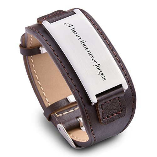 Personalize Custom Free Engraved Brown Black Leather Stainless Steel Bracelet Cuff For Men Women (Brown Leather & Silver) (Engraved Personalized Leather)