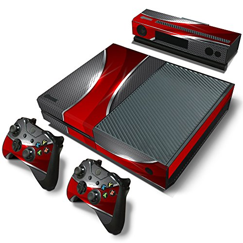 Xbox One Console Skin Decal Sticker Red and Chrome + 2 Contr