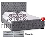 Double/ King Size Chenille Fabric Upholstered Alton Button Bed Frame in Cream,Beige,Light Grey, Grey & Black (4ft6 Double, Cream)