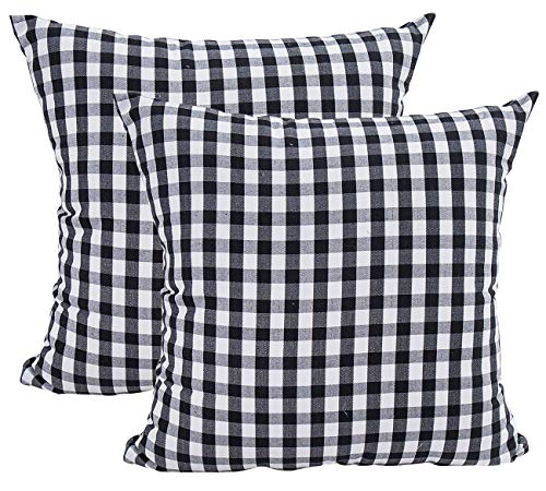 Foucome Country Style Cotton Linen Buffalo Pillow Case White and Black Check Car Bed Sofa Throw Pillow Covers Waist Home Decor Cushion Covers,18 X 18 Set of 2