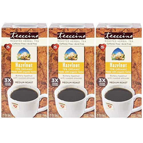 Teeccino Hazelnut Chicory Roasted Herbal Tea, Caffeine Free, Acid Free, Coffee Substitute, Prebiotic, 25 Tea Bags (Pack of 3)