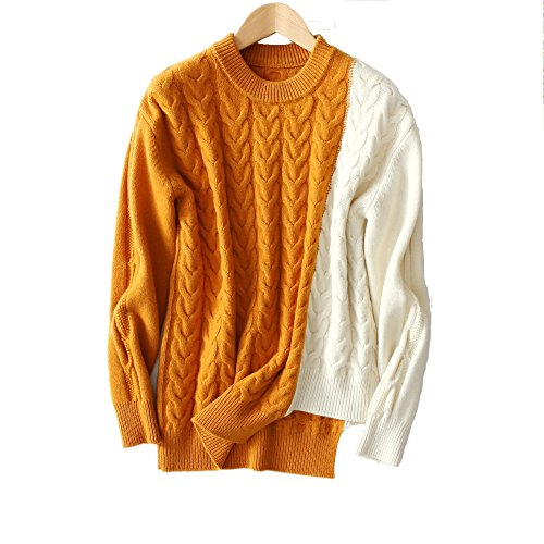 VenuStar 100% Merino Wool Sweater Contrast Color Cashmere Cable Knit Winter Pullover (M, (Asymmetrical Wool Sweater)