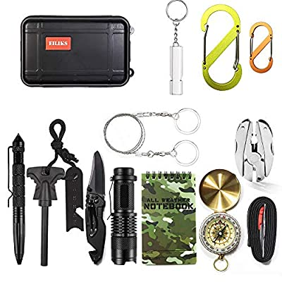 EILIKS Emergency Survival Kits, CHANGKU Multi Professional Tactical Kit Outdoor Survival Gear Kit Traveling Hiking Biking Climbing Hunting