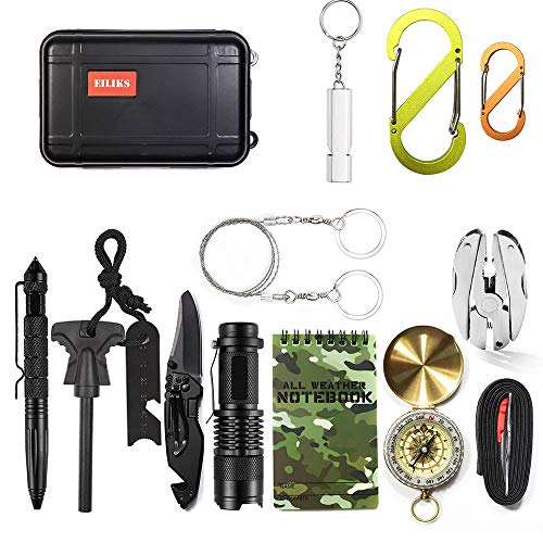 vival Gear Kits 14 in 1, Outdoor Emergency SOS Multi Professional Tools for Wilderness Hunting/Trip/Cars/Hiking/Camping Gear ()
