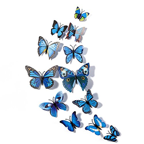 Fu Store 12pcs 3D Butterfly Stickers Making Stickers Wall Sticker