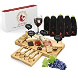 Cheese Board & Wine Tasting Party Set – Incl. 4 Piece Cheese Fork & Knives, 4 Slate Cheese Markers, 5 Blind Wine Tasting Bags & Games – Great Housewarming Gift Idea for Any Hostess by Zeneea