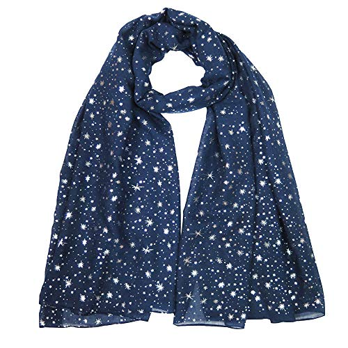 (Lina & Lily Silver Gold Glitters Shimmer Foil Stars Women Scarf Shawl Wrap (Navy Blue (silver stars)))