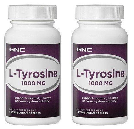 GNC L Tyrosine 1000mg--2 bouteilles chacune de 60 comprimés