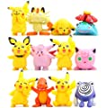 Pokemon Pikaqiu Monster Toy | Set Of 12 | Large Collectible Action Figure | Cupcake Toppers For Birthday Party Supplies