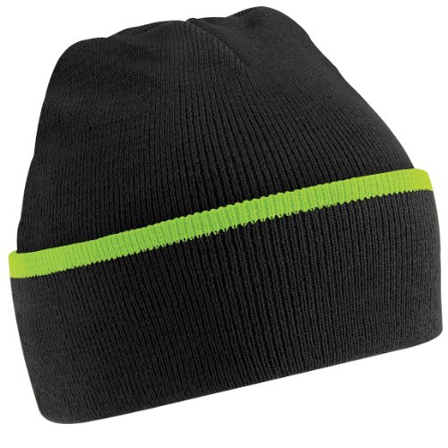 Beechfield Unisex Knitted Winter Beanie Hat (One Size) (Black/Lime Green) Green Day Black Beanie