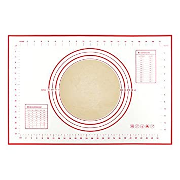 Professional Grade Non Stick Non Skid Non Slip Reusable Heat-Resistant Large Silicone Baking Mat for Pastry Rolling with Measurements BPA Free and FDA and LFGB-Approved 60/×40cm Red