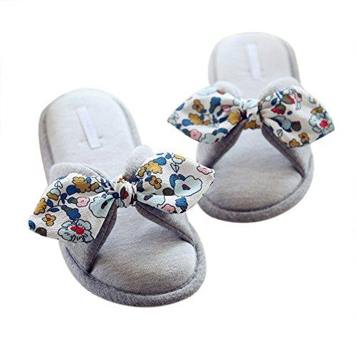 VWU - Zapatillas de estar por casa de algodón para mujer Wunderschöne Blumen