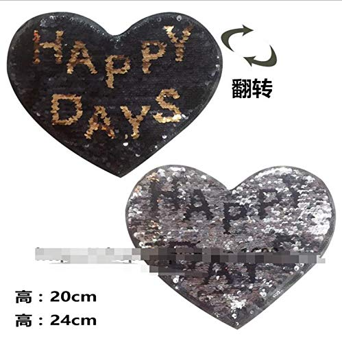 SMALL-CHIPINC - Love heart HAPPY letters Reversible Sequined Sew On Patches for clothes DIY Coat Sweater Embroidered Paillette Patch Applique