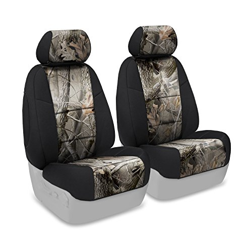 Front 50/50 Bucket Seat Cover for Select Toyota Tundra Models - Neoprene (Realtree Hardwoods Camo with Black Sides) ()
