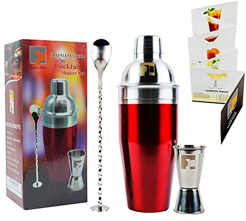 304 PREMIUM GRADE Stainless Steel Cocktail Shaker Set Gift Box | 3pc Bar tool accessories | Bartender Martini Drink Mixer built-in Strainer, Double Jigger, Mixing Spoon & Recipe Book by Eximius Power