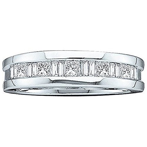 Dazzlingrock Collection 0.75 Carat (ctw) 14K Baguette & Princess Diamond Men's Wedding Band 3/4 CT, White Gold, Size 10 Baguette Diamond Men Wedding Band