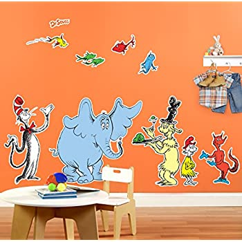 Amazoncom Dr Seuss Room Decor Giant Wall Decals Toys Games