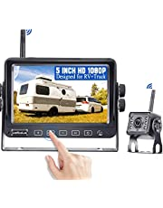 RV Backup Camera Wireless with 5 Inch HD 1080P Touch Key Monitor,Support 2 Wireless Rear View Cameras Compatible with Furrion Pre-Wired RVs,Trailers,Campers,No Signal Delay LeeKooLuu LK4