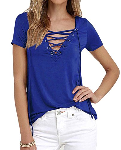 Girls Short Sleeve Knit Top (Women/Girls Sexy Deep V Neck Lace Up Short Sleeve Top Blue)
