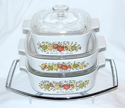 Set of 7 - Vintage 1970s Corning Ware inch Spice O Life inch Covered Casserole Skillet Baking Dishes w/Lids and Rack (2 Quart, 1.4 Liter, 1 1/2 Quart)