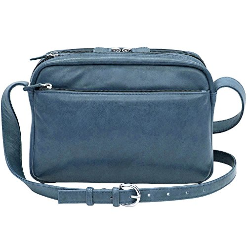 blue Womens jeans Leather organizer Shoulder ILI with wallet Handbag TAwC8q