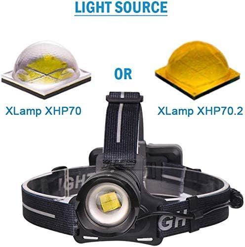 Yppss XHP70.2 8000 Lumen hohe Leistung f/ührte Stirnlampe LED-Kopflampe XHP70.2 Scheinwerfer wiederaufladbare USB 18650 Scheinwerfer
