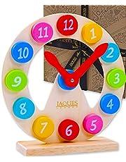 Jaques of London Leren Klok | Houten Speelgoed | Onderwijsklok | Educatief Speelgoed voor 3 4 5 Jaar Oude Jongens en Meisjes | Kinderen Leren Speelgoed | Sinds 1795