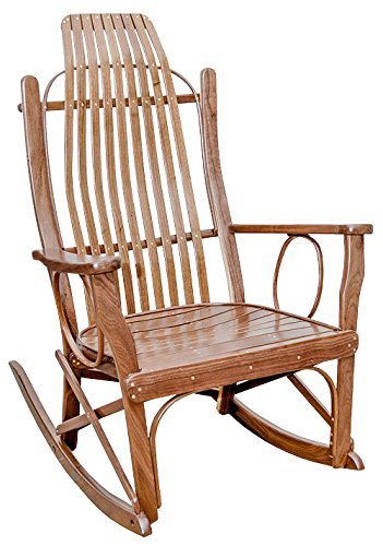 Rustic Flat Arm Rocker - Walnut with Clear Lacquer Finish Amish Cherry Arm Chair