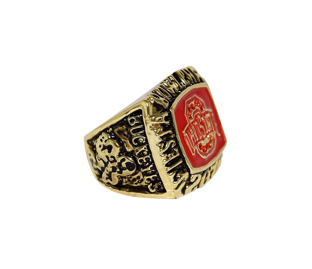 OHIO STATE UNIVERSITY (Buckeyes) 2016 FIESTA BOWL CHAMPIONS (Playing Vs. Notre Dame) Rare & Collectible Replica NCAA Football Silver Championship Ring with Cherrywood Display Box