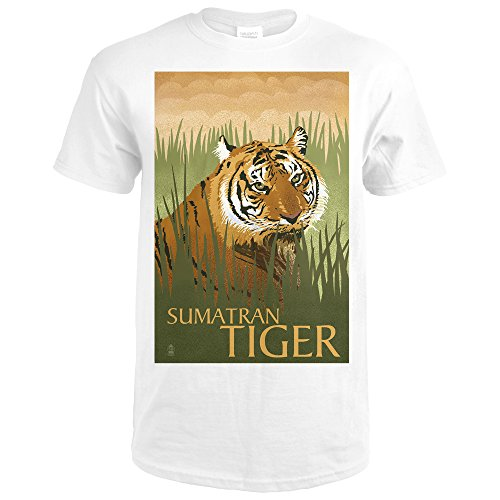 Sumatran Tiger - Lithograph Series (Premium White T-Shirt Large) (Tigers Lithograph)