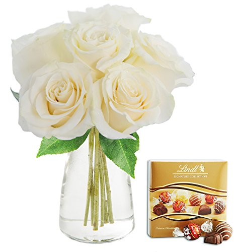 KaBloom Bouquet of 6 Fresh Cut White Roses (Long Stemmed) with Vase and One Box of Lindt Chocolates