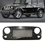 VIOJI 1pc Aftermarket ABS Plastic Matte Black Mesh Style Grille Front Main Upper/Hood Grille With Chrome Rivets Fit 07-16 Jeep Wrangler JK