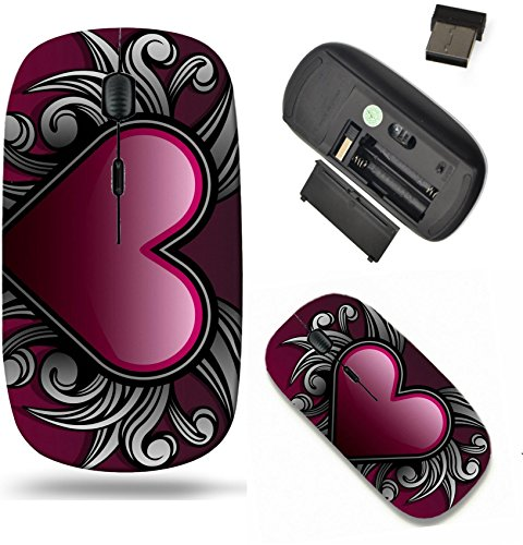 Liili Wireless Mouse Travel 2.4G Wireless Mice with USB Receiver, Click with 1000 DPI for notebook, pc, laptop, computer, mac book IMAGE ID: 4138092 Gothic style heart emblem with swirl shape accents (Style Emblem Accent)