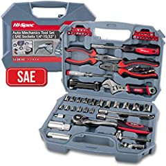 "Professional Tools - Professional Results!A practical kit for engine and auto repair plus complimentary set of most reach for hand tools♦ 3/8"" Ratchet Drive Handle72 Teeth for maximizing turning space, forward-reverse-lock modes♦ 17 x SAE Soc..."