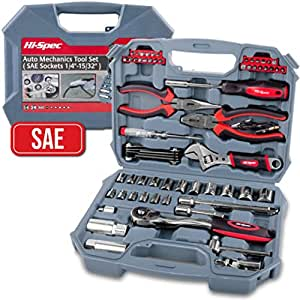 """Hi-Spec 67 Piece SAE Auto Mechanics Tool Set - 3/8"""" Quick Release Offset Ratchet with 72 Teeth, 5/32"""" - 3/4"""" SAE Sockets Set, T-Bar, Extension Bar, Hand Tools & Screw Bits in Storage Case"""