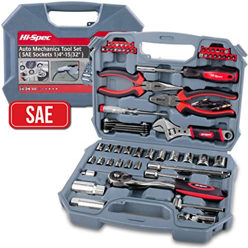 Tool Kit Electrical Basic - Hi-Spec 67 Piece SAE Auto Mechanics Tool Set - 3/8