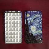 FidgetKute Starry Night Empty Watercolor Palette Paint tin Box with 40 Half Pans