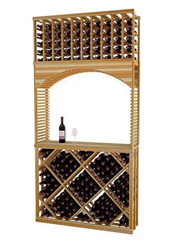 Designer Series Wine Rack - Tasting Center with Open Diamond Bin - 8 Ft - Premium Redwood Unstained - No Lacquer